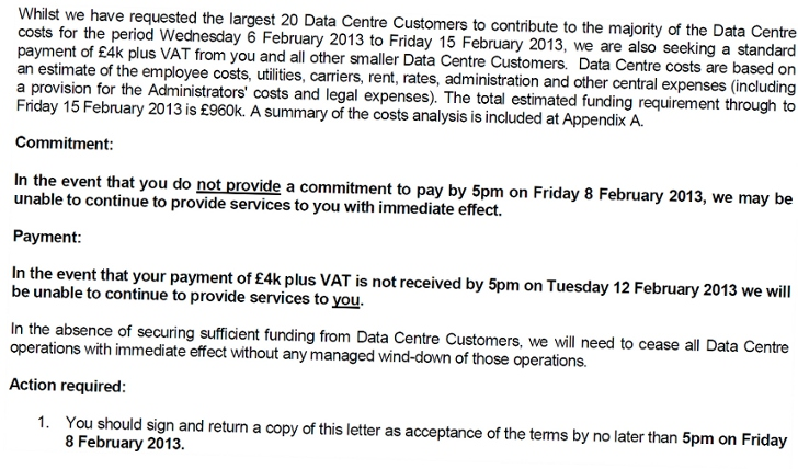 Administrator's letter to 2e2 customers