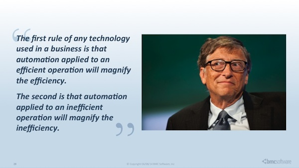 Automation applied to an inefficient operation will magnify the inefficiency.